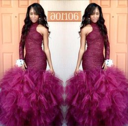 Wholesale Tulle Dress Leaves - New Vintage Burgundy Lace Puffy Left Long Sleeves Prom Dresses 2K17 Vestidos de Fiesta Mermaid Party Gowns Evening Dress