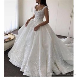 Wholesale Vintage Sexy Ball Dress Designs - 2017 New Design Vestidos Ball Gown Luxury Princess Wedding Dresses V Neck Princess Open Back Bridal Romantic Custom Made Lace Satin Hot Sale