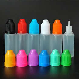 500pcs PE / PET 10ml Bottiglie di plastica vuote contagocce con protezioni a prova di bambino lungo punte fini / grande spina grossa per E cig liquido da