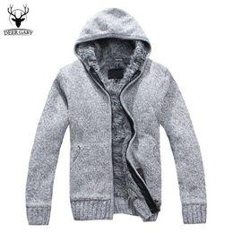 Wholesale fur lined sweatshirts - Wholesale-5Colors 2016 New Autumn Winter Fur Lining Thicken Hoodies Men Casual Zipper Warm Hoody Knitted Sweatshirt mens winter Jumper