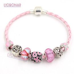 Wholesale Cancer Ribbon Beads - Free Shipping Newest Breast Cancer Awareness Jewelry European Bead Style Breast Cancer Pink Ribbon Bracelet Wholesale