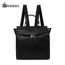 Wholesale Top Korean Backpack - Wholesale- Baigio Men's Vintage PU Leather Backpack Multi Pockets Travel Rucksack Top Quality Brand Fashion Preppy Style Men's Backpacks
