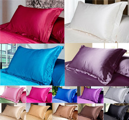 Wholesale Black Silk Pillows - Silk Pillow Cover Standard single Pillowcase cushion Decorative Pillow Solid Silk Pillow Case White Black Pink Purple 48*74cm Free Shipping
