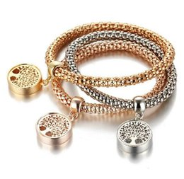 Wholesale Vintage Diamond Bracelets - Vintage Designer Austrian Rhinestones Gold Color Tree of Life Gold Diamond Charm Bracelets Popcorn Chain Jewelry For Women 2017