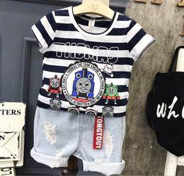 Wholesale Denim Stripe Shirt - 2017 Summer New Baby boy Clothing Sets Train stripe t-shirt+denim breeches Two Piece Outfits Children Clothes A12196