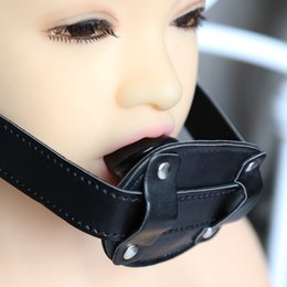 Wholesale Dildo Lock - Adult Game Silicone Dildo Gag Oral Sex Penis Mouth Plug Penis Gag With Locking Buckles Leather Bondage Sex Products For Couples