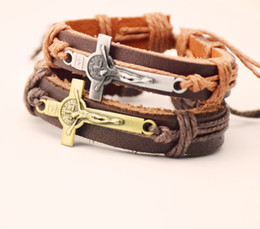 Wholesale Leather Wristbands Wholesale - Religious Cross JESUS Charm Bracelet Urban Church Gift Jewelry Handmade Black Genuine Leather Adjustable Wristband retro Jewelry Wholesale
