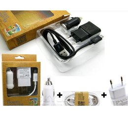 Wholesale Car Wall Galaxy - Wall Charger Home Travel Adapter Micro USB kits True 5V 1A US EU version plug + Micro USB Cable Car Charger For Galaxy S5 S6 Retail Box