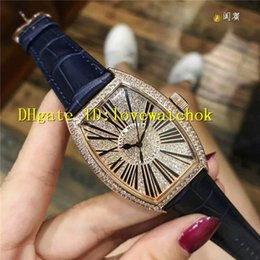 Wholesale Womens Watches Leather Strap - Luxury Brand Rose Gold Diamond Black Big Roman numerals Swiss Quartz Ladies Watch 32mm Blue Leather Strap Womens Watches