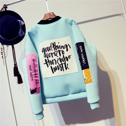 Wholesale Cool Winter Jackets Women - Wholesale- 2016 Autumn Winter New Korean BF Style Girls Space Cotton Embroidery Letter Jacket Fashion Youth Students Cool Baseball Jacket