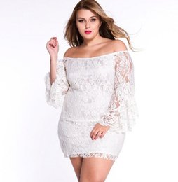 Wholesale Flared Mini Skirt High Waist - 2017 New Summer Women White Lace Dresses tassel High waist Pencil skirt Long sleeves Large size Women 's party Dresses