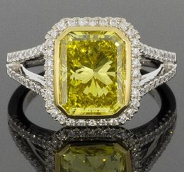 Wholesale Radiant Diamond Engagement Rings - GIA RADIANT DIAMOND HALO ENGAGEMENT RING FANCY VIVID YELLOW VVS1