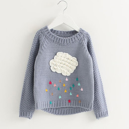 Wholesale Sweaters For Winter Kids - new 2017 fashion winter baby girls sweater cartoon cloud kids clothes children sweater warm for girls knitwear rain Sweater