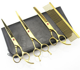 Wholesale Hairdressing Bags - 7 Inch Hairdressing Scissors 62HRC JP 440C Stainless Steel Pet Hair Cutting Thinning Shears 4Pcs Set With Bag Plated Gold.