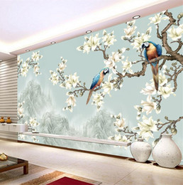 Wholesale paintings chinese silk - Contemporary and contracted style landscape living room TV setting wall paper wall cloth hand-painted painting of flowers and 3 d wallpaper