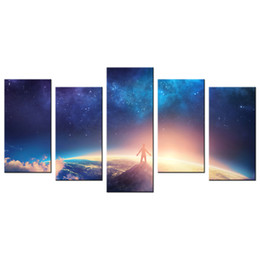 Wholesale Giclee Poster - Wonderful Cosmos HD Poster Printed on Canvas Beautiful Space Scenery Canvas Painting Wholesale Decorative Giclee Prints 4 Panels