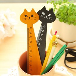 Wholesale Rulers 15cm - Wholesale- Black Yellow Cute Cat Shape Math Ruler Learning Wood Animal Educational Straight Ruler Brain Teaser Gift for Kids 15cm Kids Toys