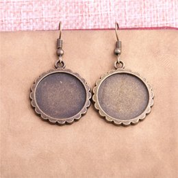 Wholesale Antique Bronze Studs - 12PCS Fit 20mm Dia Alloy Antique Bronze Round Cabochon Setting Earring Base Fit For Dangle Earring DIY T0635