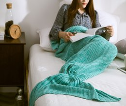 Wholesale Knitting Patterns Adults - 80cm*180cm Large Mermaid Blanket ,Pattern Crochet Mermaid Tail,Knitted Mermaid Tail Blanket