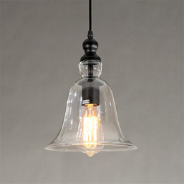 Wholesale 15 Bell - Antique Vintage Style Glass Shade Ceiling Light Pendant Lamp Fixture American modern Loft crystal bell pendant light Retro Chandelier lights