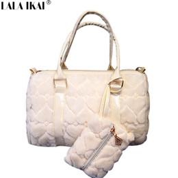Wholesale Heart Shape Shoulder Bags - Wholesale-Ladies Winter Bag Fur Totes with Wallet Woman New Design Heart Messenger Bags Ladies Shoulder Bag Fur Crossbody Bag BWA0723-4.9