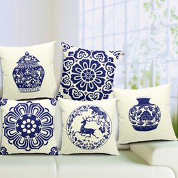 Wholesale Cover Pillows China - China Retro Blue and White Porcelain Blue Print Cushion Cover Linen Cotton Pillow Cover 45cm*45cm Square Throw Pillow Cases for Office Sofa