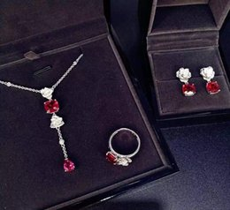 Wholesale Square Necklaces - AAA Ruby Color Square Zircon Simple Earring + Necklace + ring Jewelry Set AP* Design Women Wedding Bridal Created Diamond