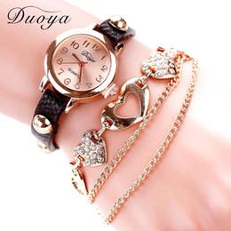 Wholesale Trendy Belt Bracelets For Women - Women Bracelet Watch Hot Luxury Brand Fashion Trendy Heart Dress Rose Simple Quartz Wrist Watches For Women Ladies Gift Clock