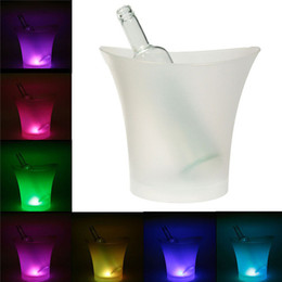Wholesale Light Bucket Bar - 5L 7 Colors LED RGB Drinks Beer Ice Bucket Ice Cooler Light Changeable Champagne Wine Beverage Bar Party Tools
