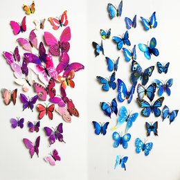 Wholesale Bathroom Pvc - Free shipping 12pcs PVC 3d Butterfly wall decor cute Butterflies wall stickers art Decals home Decoration