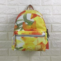 Wholesale Ladies Floral Backpack - Free shipping-new yellow floral print fashion good quality lady backpack