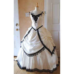 Wholesale Portraits Photos - 2017 Black And White Victorian Wedding Dresses Lace Ball Gown Real Photo Vintage Women Bride Gowns