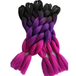 "Wholesale Roses Crochet - Fashion Black Purple Rose Pink 3Tone Ombre Color Jumbo Braids Hair Bulk Extensions 24"" 5pcs lot Synthetic Crochet Box Twist Braids Hairstyle"