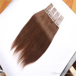 Wholesale Wholesale European Tape Hair Extensions - Pre bonded Brazilian peruvian european human hair straight PU tape in hair Skin Weft Hair Extensions 80g per bundle 40pcs 16-26 inch