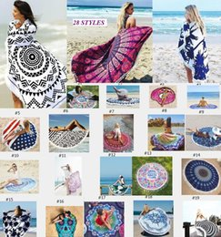 Wholesale Swimsuit Cover Up Towel - Round Beach Towels Women Bikini Shawl Bohemian Mandala Tassels Beach Towel Cotton Serviette Cover up Swimsuit Beachwear Mat Blanket