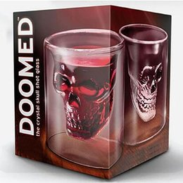 Wholesale Doomed Skull Glass Cup - 2017 Doomed Crystal Skull Head Double Wall Vodka Shot Glass Cup for Home Bar Birthday Party Beer Wine Whisky Drinking Glasses Cup XL-G78