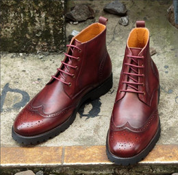 Wholesale Handmade Rivets - Men Dress shoes Oxfords shoes Custom Handmade shoes Genuine Leather Retro Leisure High-top Boots Cowhide Martin boots free shipping D216