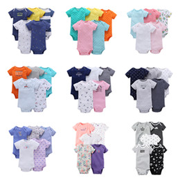 Wholesale Boys Striped - 65 Designs Baby Rompers Suit Summer Infant Boys Girls Short Sleeve Triangle Onesies Clothing 5 designs per lot 100% cotton O-neck