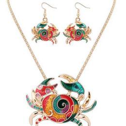 2019 placa de cangrejo Gothic Cute Enamel Crab Jewelry Set Cangrejo Dorado Collar Llamativo Pendientes Set animal largo Collar dorado plateado Chian Drop Earrings placa de cangrejo baratos