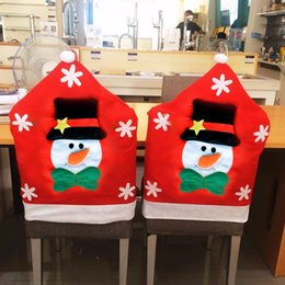 Wholesale Wholesale Dining Room Chair Covers - 6Pcs Creative Christmas Snowman Chair Cover 70*49Cm Cartoon Dining Room Home Party Red Chairs Back Set Cover Decor Ywjsjj 08925