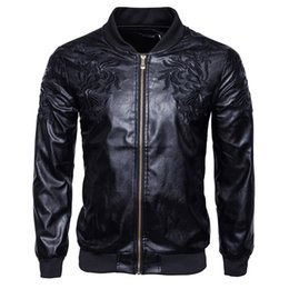 Wholesale European Leather Jackets For Men - 2017 Autumn Leather Jacket For Mens Fashion American And European Trendy Motorcycles Jacket Men With Embroidery Causal Men's Vehicle Clothes