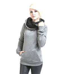 Wholesale Cheap Ladies Hoodies - Lady Hoodie Hooded Woman Thick Pullover Hoodie Outfear Slim Outfit blue gray Sport Dresses Fashion New Arrival Hot Sale Cheap price