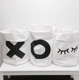 Wholesale Toy Cloth Bag - Ins folding Toys Storage Bags Storage Baskets Bins Kids Cloth Organizer Laundry Bag Canvas Rabbit Eyebrow Laundry Bin 5 design KKA2254