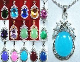Wholesale Cheap Cz Pendants - Wholesale cheap 8 color! charm green pink purple blue red oval jade 18KGP CZ pendant free chain