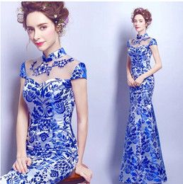 Wholesale Sexy Chinese Party Dresses - 2017 New Cheap Evening Dress Chinese Style In Cheongsam Mermaid High Collar Zipper Back Sweep Train Sheath Vintage Elegant Party Prom Dress