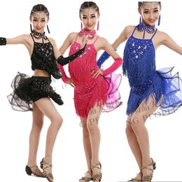 Wholesale Latin Dance Costumes For Women - Fashion Sequin Latin Dance Dresses For Girls Lace Ball Salsa Dancing Costumes Vestidos Kids Samba Modern Stage Dancewear
