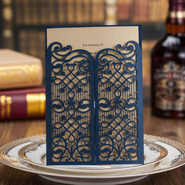 Wholesale Wedding Invitation Sky Blue - OEM Laser Cut Invitations Customized Wedding Invitation Cards With Navy Blue Gate Hollow Personalized Wedding Invitations #BW-I0511