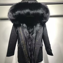 Wholesale Xs Dog Collar Green - Black Mr Mrs itlay black fox fur lining long canvas cotton jackets Classic Mr Mrs furs snow parkas