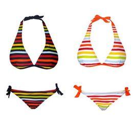 Wholesale Chromatic Fashion - Sexy Rainbow Print Bikini Three-point Triangle Swimwear Bikini Fashion Women Swimwear Two-Piece Suits Beachwear Chromatic Stripe Bikini
