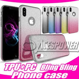 Glitter di gradiente di caso di iphone online-Per Iphone X 8 7 Samsung S9 S8 Inoltre Note8 LG Stylo3 ibrida Gradient scintillio Bling lucidi della copertura 3in1 della cassa colorata